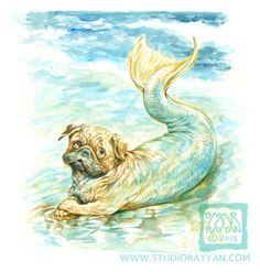 by Omar Rayyan, A lovely sea pug lounging by the sea shore Printed with archival inks on matte paper and protected in a clear plasticSea Pug (print) mermaid ocean dog humor $7.00 enclosure with a backing