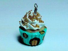 Cupcake Charm  Aqua Blue Gold Leopard Print by SmalleyStudios, $8.00