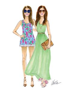 Palm Beach Beauties  Watercolor Blogger Fashion by KaraEndres, $25.00