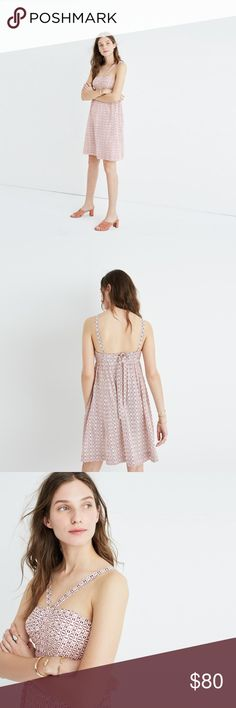 Madewell Silk Convertible Halter Dress PRODUCT DETAILS A beachy silk dress with extra-long ties that can be worn all kinds of ways: as a halter, with straps straight or with them crisscrossed in back (yay, options!). We love it in a modern take on a timeless tie-dye print.  Nonwaisted. Silk. Lined. Dry clean Madewell Dresses Mini