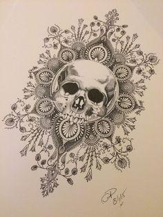 pointillism skull tattoo - Pesquisa Google