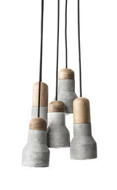 NEW Modern Molded Concrete Wood Cafe Ceiling Cluster Pendant Drop Light 13016 Concrete Light, Concrete Lamp, Wooden Canopy, Wooden Lamp, Pendant Lamp, Pendant Lighting, Light Pendant, Ceiling Lighting, Industrial Hanging Lights