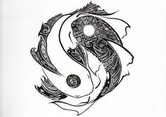 tribal yinyang koi design