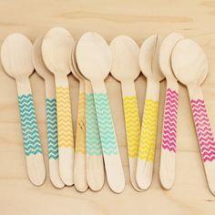 Chevron Wood Spoons   10ct