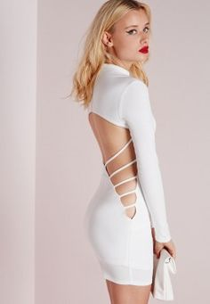 Crepe Long Sleeve Back Detail Bodycon Dress White