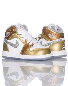 JORDAN KIDS 1 PHAT SNEAKER Gold/white. Yep might have to look for these for Rhiley's next pair of Jordans