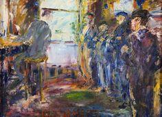 Jack Butler Yeats (Irish, Sailors in an Office. Oil on canvas, 46 x cm. via urgetocreate Large Canvas, Oil On Canvas, Irish Painters, Moving To Ireland, Jack B, Short Stories For Kids, Irish Art, Irish Eyes, Degas