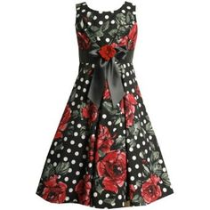 Bonnie Jean Girl PLUS SIZE 12.5-20.5 BLACK WHITE RED ROSES and DOTS PLEATED BODICE Special Occasion Wedding Flower Girl Pageant Recital Party Dress.  List Price: $76  Sale Price: $52.95  Savings: 30%  More Detail: http://www.saleoff.me/product.php?id=B005AQ27UK