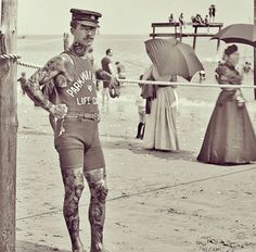 Lifeguard at Brighton Beach NY, 1910.