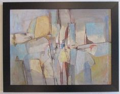 "ELEANOR FOGG CALIFORNIA VINTAGE 32"" MID CENTURY MODERNISM ABSTRACT OIL PAINTING  #Expressionism"