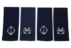 S/4 Linen Guest Towels, Navy in April 18 - 2013 from One Kings Lane on shop.CatalogSpree.com, my personal digital mall.