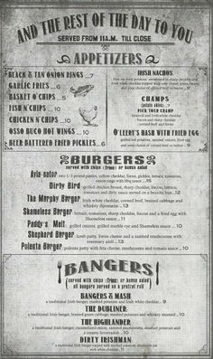 Grill menu retro flyer design template vintage poster for Irish menu templates