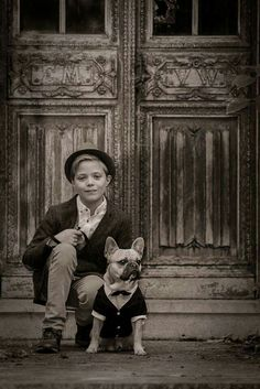 Boy with frenchie