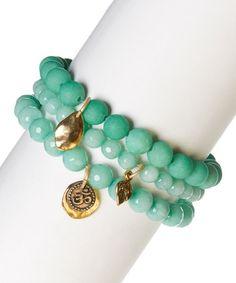 Look what I found on #zulily! Mint Green Agate Ohm Stretch Bracelet Set #zulilyfinds
