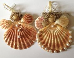 Scallop Shell Angel Ornaments  Sold in Set of 2 by JJIlluminations