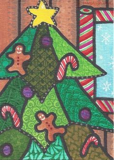 ACEO Zentangle Christmas tree, gingerbread man, candy cane, ornament, snow flake #ebay #aceo #christmas #zentangle