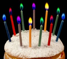 Faerie Flames: Angel Flames Birthday Candles - a pack of 12 candles complete with cake candleholders. The color of the flames coordinates with the color of the wax. (Av. burn time 8 minutes.) Colored flames include red, green, blue, purple, orange and yellow.