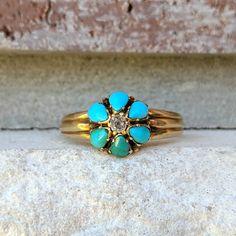 Vintage Seven Stone Filigree Ring English 9kt Yellow Gold Turquoise Paste Diamond Ladies Estate Wedding Gift Love Promise Engagement
