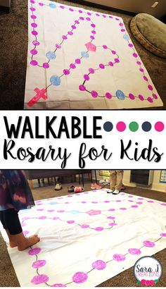 DIY Walkable Rosary for Children to help kids learn to pray - What a great idea for getting the kids involved! Catholic Schools Week, Catholic Religious Education, Catholic Crafts, Catholic Kids, Catholic Catechism, Religious Gifts, Religion Activities, Teaching Religion, Religion Catolica
