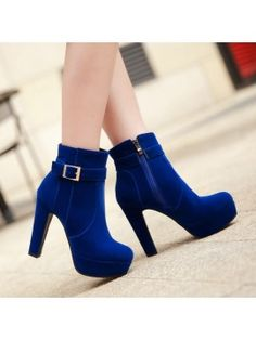 Summerwhisper Women's Elegant Faux Suede Buckle Strap Round Toe Bridal Shoes Side Zipper Chunky High Heel Ankle Boots Shoes Blue 11 B(M) US Block Heel Ankle Boots, Platform Ankle Boots, Suede Ankle Boots, Shoe Boots, Women's Boots, Block Heels, Lila Outfits, Mode Outfits, Cute Shoes Heels
