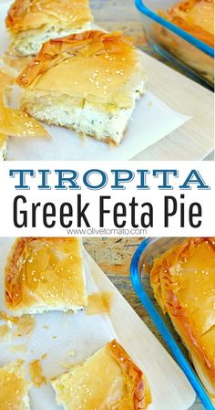 greek food Traditional Tiropita Greek Feta Cheese Pie The most popular Pie in Greece, and probably the most decadent. Rich and tangy feta filling wrapped in crispy phyllo. Get the authentic recipe for traditional tiropita. Greek Cheese Pie, Cheese Pies, Goat Cheese, Vegan Feta Cheese, Mediterranean Diet Recipes, Mediterranean Dishes, Best Thanksgiving Appetizers, Greek Desserts, Greek Cooking