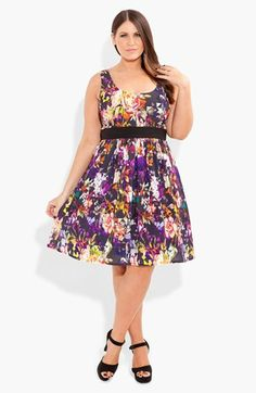 City Chic Print Fit & Flare Dress (Plus Size) available at #Nordstrom
