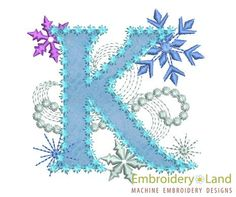 Ice Princess Letter K Frozen Cloth Decor by EmbroideryLand, $3.90