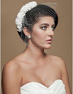 Gorgeous Tulle Wedding Bridal White Flowers Headpiece – USD $ 5.99