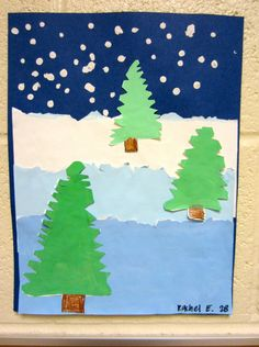 This 'winter landscape' by grade is great because it covers a lot of art les. - This 'winter landscape' by grade is great because it covers a lot of art lessons in one: ti - Winter Art Projects, School Art Projects, Kindergarten Art, Preschool Art, Winter Thema, 2nd Grade Art, Grade 2, Theme Noel, Art Lessons Elementary