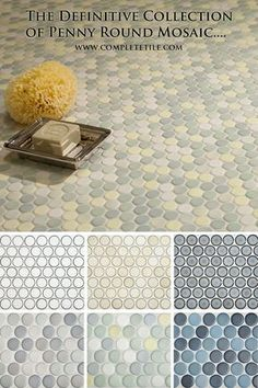 Penny Round Mosaic Tiles in porcelain are retro classics, but these new colors bring them into a fresh, modern look. Exciting mosaic for bathrooms and kitchens. See all 45 penny tile colors....