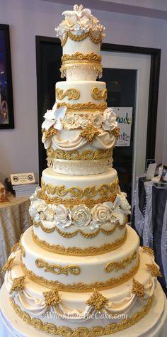 Versailles Cake by www.WhoMadeTheCake.com as seen on The Great American Food Fight on Steve Harvey. #goldweddingcake #royalweddingcake #Versaillecake