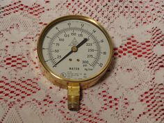 Vintage Industrial Brass Pressure Gauge - Grinnell Fire Protection - 1980  -  17-095 by BubbiesMemories on Etsy