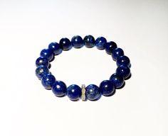 Blue bracelet with diamond, diamond and blue bracelet, blue lapis and diamond bracelet Diamond Bracelets, Bracelets For Men, Diamond Jewelry, Beaded Jewelry, Jewelry Bracelets, Etsy Shop, Handmade, Accessories, Polyvore
