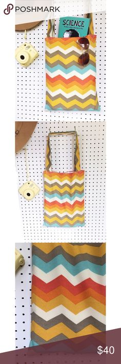 """The Maya Handmade Totes A beautiful Chevron sunset print tote lightweight & perfect for books, knock knacks & casual outings. The otherwise bright colors are muted for a delicate & relaxed style of handbag.  Approx 12""""w x 16""""h  Strap drop approx 12""""  Due to the handmade nature of this item, slight imperfections may exist but will not affect function. FIRM PRICE.   Follow us on Instagram for a look at my business: keepinitclutch. keepinitclutch Bags Totes"""