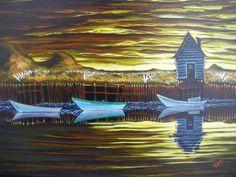 Fogo Island Series 5 painting by Newfoundland artist Adam Young Fogo Island Newfoundland, Newfoundland And Labrador, Adam Young, Young Art, Canadian Art, Beautiful Islands, Modern Art, Contemporary, Home Art