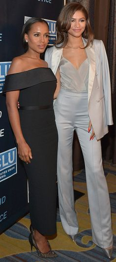 Kerry Washington and Zendaya attend the ACLU Bill of Rights dinner in Beverly Hills on Sunday.