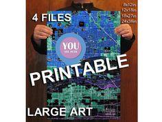 Printable PHOENIX ARIZONA 1952 Old Map You are here. by allmaps #youarehere #usmaps #usa #maps #wallart