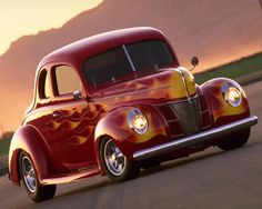 Classic red hot rod with yellow flames