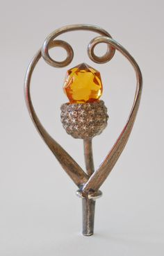HATPIN - SCOTTISH SILVER WITH GLASS c.1890