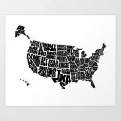 USA Word Map - Black and White Art Print by Ink of Me Graphics - $20.00