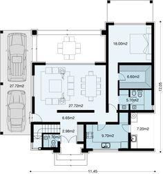 Proyecto 137m2 cubiertos, tres dormitorios y tres baños. Consta de un hall de ingreso, estar comedor, cocina, lavadero en patio … Architecture Plan, Amazing Architecture, Interior Architecture, Dream House Plans, My Dream Home, Casas Country, Minimal Home, Sims House, Townhouse