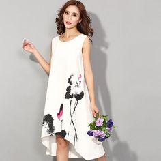 Para mujer vestidos verano 2016 resorte de la largo vintage vestido del o-cuello de impresión mujeres más tamaño ropa desigual…