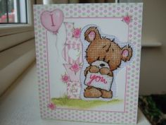 STITCH COOKIE BEAR Cross Stitch Card Kit Everything you need to complete