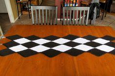 IMG_0432, via Flickr. Crochet table runner. Link to free crochet diamond pattern provided in photo description.