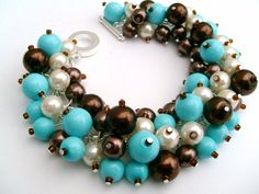 Bridesmaid Jewelry Turquoise Brown Ivory Pearl Beaded by KIMMSMITH, $19.00