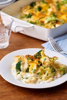 Comforting cheesy chicken and broccoli casserole.
