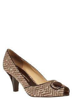 Peep toe pumps with a Brown herring bone pattern.  Don't mind if I do...