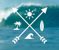 Sun Surf Waves Palms Decal by DecalDesires on Etsy