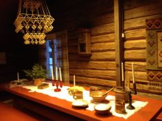 The Christmas in th richiest home of Kuhmo (Kainuu, Finland) maybe on the beginning of The photo from Kuhmo Museum Tuupala. Roof decoration is Himmeli (made by straw). Roof Decoration, Finland, Table Settings, Museum, Christmas, Xmas, Table Top Decorations, Weihnachten, Navidad