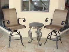 Patio Table Chairs Tall Images | Tall Patio Chairs + Dolphin Table Photo  FurnitureSale101